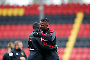 OSTERSUND, SWEDEN - APRIL 21: Alhaji Gero of Ostersunds FK hugs a team mate ahead of the Allsvenskan match between Ostersunds FK and Orebro SK at Jamtkraft Arena on April 21, 2018 in Ostersund, Sweden. Photo by Nils Petter Nilsson/Ombrello ***BETALBILD***