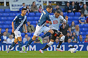 Thomas Ince battles with Jonathan Grounds during the Sky Bet Championship match between Birmingham City and Derby County at St Andrews, Birmingham, England on 21 August 2015. Photo by Alan Franklin.