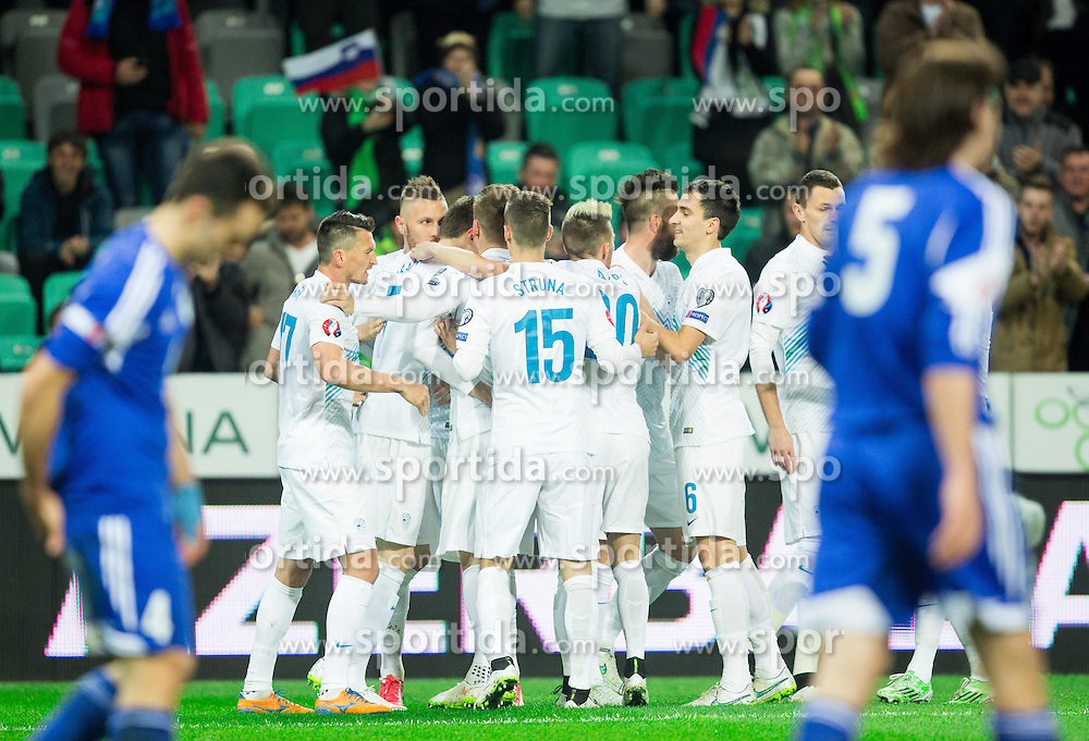 Players of Slovenia celebrate after scoring first goal during football match between NationalTeams of Slovenia and San Marino in Round 5 of EURO 2016 Qualifications, on March 27, 2015 in SRC Stozice, Ljubljana, Slovenia. Photo by Vid Ponikvar / Sportida