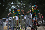 Team South Africa during the hand over at the Team Relay at the 2019 UCI MTB World Championships in Mont-Sainte-Anne, Canada.