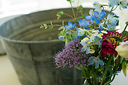 Tin Washing Tub with Spring Flowers