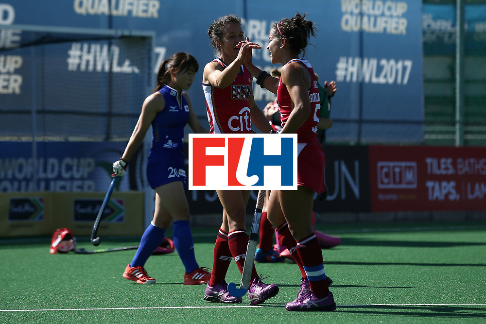 JOHANNESBURG, SOUTH AFRICA - JULY 18: Melissa Gonzalez of the United States (R) and Caitlin van Sickle of the United States (L) celebrate victory together after the Quarter Final match between the United States and Japan during the FIH Hockey World League - Women's Semi Finals on July 18, 2017 in Johannesburg, South Africa.  (Photo by Jan Kruger/Getty Images for FIH)