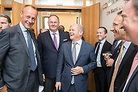 18 JUN 2018, BERLIN/GERMANY:<br /> Friedrich Merz (L), Vorsitzender des Aufsichtsrates BlackRock Asset Management Deutschland AG, Harald Christ (2.v.L.), Wirtschaftsforum der SPD, Olaf Scholz (3.v.L.), SPD, Bundesfinanzminister, Dr. Joerg Kukies (2.v.R.), Staatssekretaer im Bundesministerium der Finanzen, Veranstaltung Wirtschaftsforum der SPD: &quot;Finanzplatz Deutschland 2030 - Vision, Strategie, Massnahmen!&quot;, Haus der Commerzbank<br /> IMAGE: 20180618-01-034