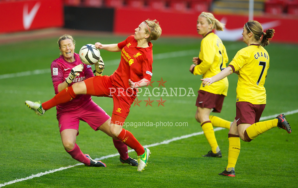 LIVERPOOL, ENGLAND - Friday, April 26, 2013: Liverpool's Natasha Dowie in action against Arsenal's goalkeeper Emma Byrne during the FA Women's Cup Semi-Final match at Anfield. (Pic by David Rawcliffe/Propaganda)