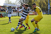 Forest Green Rovers Christian Doidge(9) on the ball during the Vanarama National League match between Southport and Forest Green Rovers at the Merseyrail Community Stadium, Southport, United Kingdom on 17 April 2017. Photo by Shane Healey.