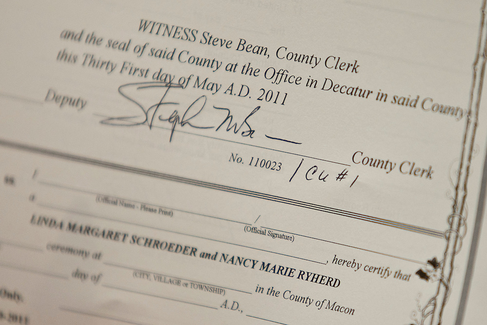 Linda Schroeder and Nancy Ryherd's civil union license, seen here in the county clerk's office at the Macon County Office Building just after 12 midnight Wednesday, June 1, 2011, in Decatur, Ill., is labeled CU#1. (Stephen Haas)