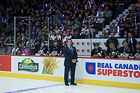 REGINA, SK - MAY 18: Rob Faulds of Sportsnet stands on the ice at the Brandt Centre on May 18, 2018 in Regina, Canada. (Photo by Marissa Baecker/Shoot the Breeze)
