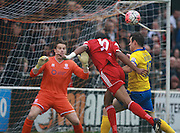 Whitehawk striker Danny Mills heads home to open the scoring during the The FA Cup match between Whitehawk FC and Lincoln City at the Enclosed Ground, Whitehawk, United Kingdom on 8 November 2015. Photo by Bennett Dean.