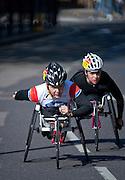 London. United Kingdom. 2014 London Marathon. Wheelchair race, Narrow Street Limehouse, East London. Athletics 09:59:00  Sunday  13/04/2014  [Mandatory Credit; Peter SPURRIER/ Intersport Images],
