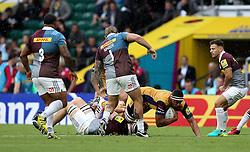 Jack Lam of Bristol Rugby is tackled - Mandatory by-line: Robbie Stephenson/JMP - 03/09/2016 - RUGBY - Twickenham - London, England - Harlequins v Bristol Rugby - Aviva Premiership London Double Header