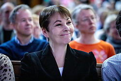 © Licensed to London News Pictures. 11/01/2019. London, UK.  Co-leader of the Green party Caroline Lucas listens to speakers at a convention for second EU referendum, organised by 'Another Vote is Possible', a pro-EU organisation. MPs are currently debating British Prime Minister Theresa May's EU withdrawal deal, with a vote on the deal due to take place on 15th January. Photo credit : Tom Nicholson/LNP