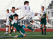 Pasco forward Emilio Meraz Rodriguez scores his second goal of the game after getting by Mount Vernon defender Ariel Dominguez during the Bulldogs 4-0 win Tuesday, May 19, 2015 at Edgar Brown Stadium in Pasco.