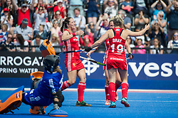 Ellie Watton, Susannah Townsend & Sophie Bray. England v The Netherlands, Lee Valley Hockey and Tennis Centre, London, England on 11 June 2017. Photo: Simon Parker