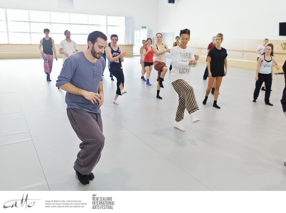 Artists from Hofesh Shechter's company teach students some of the moves from their show, Political Mother, as part of New Zealand International Arts Festival's Schoolfest programme.