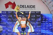 22.01.2016. Norwood, Australia. Tour Down Under cycling tour, stage 4 Norwood to Victor Harbor.  Orica Greenedge; Gerrans Simon on the winners podium in Victor Harbor