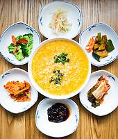 Vegetable juk with accompanying banchans @ Spoon Korean Bistro.