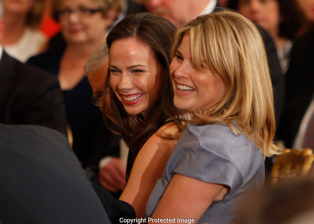 Former First Daughters Barbara Bush and Jenna Bush at the unveiling of their official White House Portrait in the East Room of the White House on May 31,2012.  Photo by Dennis Brack