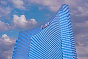 Las Vegas; Nevada;  CityCenter, Resort, Vdara, Hotel & Spa, Architecture, Glass, Steel, Structures,  Hospitality, Vegas Strip, shopping,  Blue Sky, Travel, Destination, View, Unique, Quality