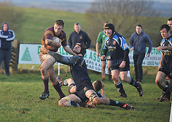 Ballyhaunis Fintan Crawley tries to get away from the grips of  Castlebar's Luke Staunton during the Connacht Junior Cup match on sunday.<br /> Pic Conor McKeown