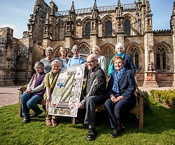 A copy of the Rosslyn panel that was stolen from the Great Tapestry of Scotland has been presented to the trustees after the original stitching team recreated their original. Pictured with the replacement outside Rosslyn Chapel are stitchers Margaret Humphries, Jean Lindsay, Anne Beedie, Jinty Murray, Barbara Stokes Fiona McIntosh and Phillipa Peat together withCo-ordinator Dorie Wilkie and artist Andrew Crummy.<br /> <br /> © Dave Johnston/ EEm