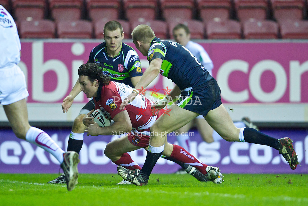 WIGAN, ENGLAND - Friday, February 12, 2010: Wigan Warriors' Martin Gleeson scores the second try against Hull KR during the Super League XV Round 2 match at the DW Stadium. (Pic by David Rawcliffe/Propaganda)