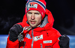 22.02.2019, Medal Plaza, Seefeld, AUT, FIS Weltmeisterschaften Ski Nordisch, Seefeld 2019, Nordische Kombination, Siegerehrung, im Bild Silbermedaillengewinner Jan Schmid (NOR) // Silver medalist Jan Schmid of Norway during the winner Ceremony for the Nordic Combined competition of FIS Nordic Ski World Championships 2019 at the Medal Plaza in Seefeld, Austria on 2019/02/22. EXPA Pictures © 2019, PhotoCredit: EXPA/ Dominik Angerer