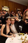 Chloe Delevigne and her escort Louis Buckworth, Getting ready before the  Thirteenth Annual Crillon Haute Couture Ball. Paris,  29 November 2003. © Copyright Photograph by Dafydd Jones 66 Stockwell Park Rd. London SW9 0DA Tel 020 7733 0108 www.dafjones.com