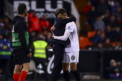 January 26, 2019 - Valencia, Spain - Head coach of Valencia CF Marcelino Garcia Toral.(L) and Denis Cheryshev of Valencia CF (R)  during  spanish La Liga match between Valencia CF vs Villarreal CF at Mestalla Stadium on Jaunary  26, 2019. (Credit Image: © Jose Miguel Fernandez/NurPhoto via ZUMA Press)