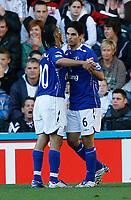 Photo: Steve Bond.<br /> Derby County v Everton. The FA Barclays Premiership. 28/10/2007. Mikel Arteta (R) celebrates with Steven Pienaar