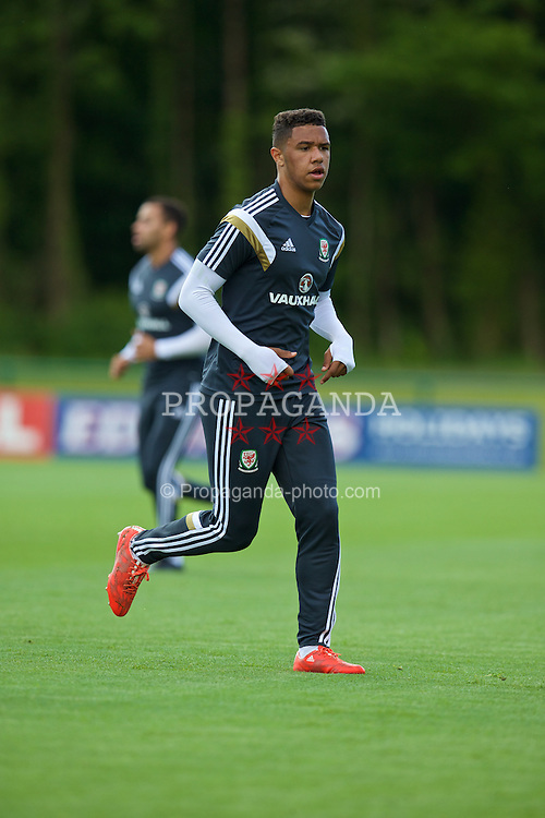CARDIFF, WALES - Wednesday, June 3, 2015: Wales' Tyler Roberts during a training session at the Vale of Glamorgan ahead of the UEFA Euro 2016 Qualifying Round Group B match against Belgium. (Pic by David Rawcliffe/Propaganda)