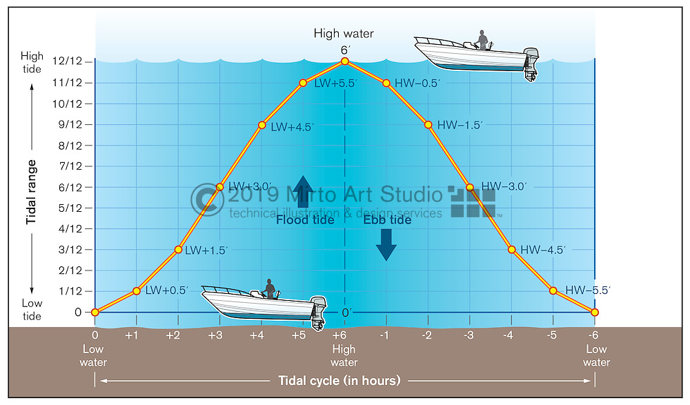 Vector illustration showing the rule of 12ths in a tidal cycle. The chart shows the time of peak flow of the flood and ebb tide cycle.