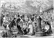New Flower Market, Paris. Flower sellers filling their water cans at the fountain. From 'The Illustrated London News', 4 July 1874.