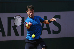 May 21, 2019 - Paris, France - Evgeny Karlovsky of Russia in action against Lucas Miedler of Austria in the first round of Roland Garros qualifications in Paris, France, on 21 May 2019. (Credit Image: © Ibrahim Ezzat/NurPhoto via ZUMA Press)