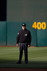 OAKLAND, CA - JUNE 17:  MLB umpire Mike DiMuro #16 stands on the field during the first inning between the Oakland Athletics and the San Diego Padres at O.co Coliseum on June 17, 2015 in Oakland, California. The Oakland Athletics defeated the San Diego Padres 16-2. (Photo by Jason O. Watson/Getty Images) *** Local Caption *** Mike DiMuro
