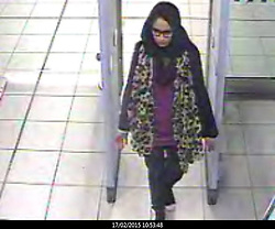 © Licensed to London News Pictures. 22/02/2015. LONDON, UK. Shamima Begum at Gatwick Airport. Police are urgently trying to trace Shamima Begum, 15, Kadiza Sultana, 16, and 15-year-old Amira Abase after they flew to Istanbul in Turkey from Gatwick Airport on Tuesday. The girls are believed to have fled to Syria to join Islamic State. Photo credit : LNP