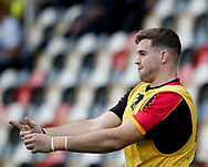 Dragons' Elliot Dee during the pre match warm up<br /> <br /> Photographer Simon King/Replay Images<br /> <br /> Guinness PRO14 Round 1 - Dragons v Benetton Treviso - Saturday 1st September 2018 - Rodney Parade - Newport<br /> <br /> World Copyright &copy; Replay Images . All rights reserved. info@replayimages.co.uk - http://replayimages.co.uk