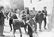Assassination of Archduke Francis Ferdinand (Franz Ferdinand) 1863-1914, heir to the Austrian throne, at Sarajevo 28 June 1914. The arrest on the scene of Gavrilo Princip (1895-1918) the assassin.