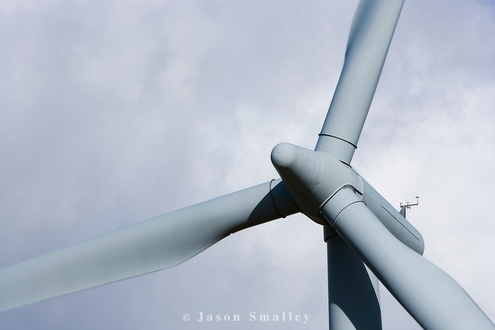 The rotor and blades of a large wind turbine at a windfarm in Cumbria
