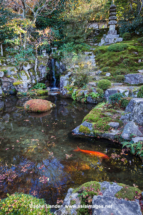 "Jakko-in temple is a nunnery located in Ohara Kyoto. Within its small compound is a beautiful pond garden.  The Migiwa pond and garden was described and mentioned in the Japanese classic ""The Tale of Heike"" and is famous for its unique composition."