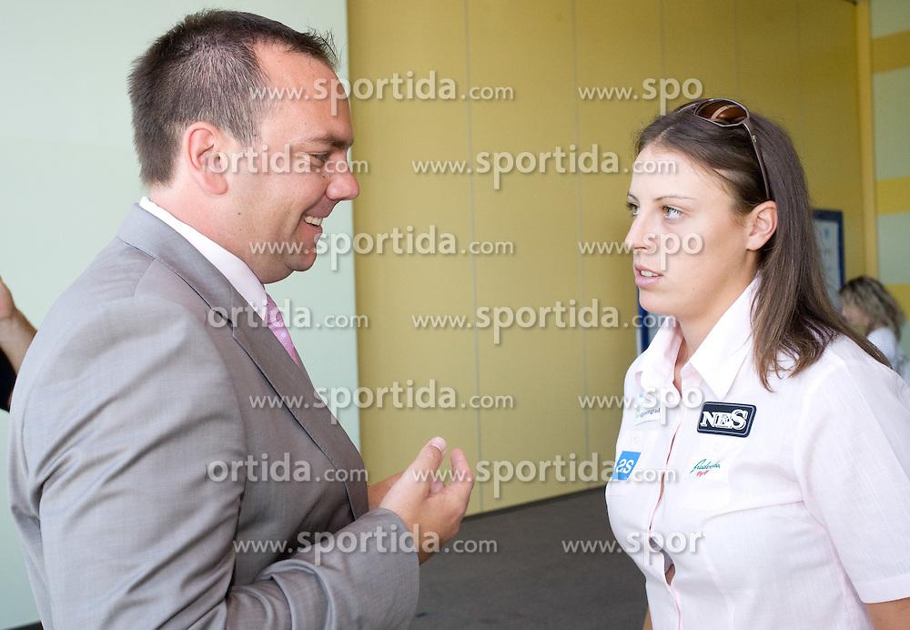 Andrej Bizjak and Andreja Klepac at press conference before Banka Koper Slovenia Open 2009 of Sony Ericsson WTA tour in Portoroz,  on July 16, 2009, in Ljubljana, Slovenia. (Photo by Vid Ponikvar / Sportida)