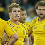 David Pocock, Australia, talks to his team mates during the South Africa V Australia Quarter Final match at the IRB Rugby World Cup tournament. Wellington Regional Stadium, Wellington, New Zealand, 9th October 2011. Photo Tim Clayton...