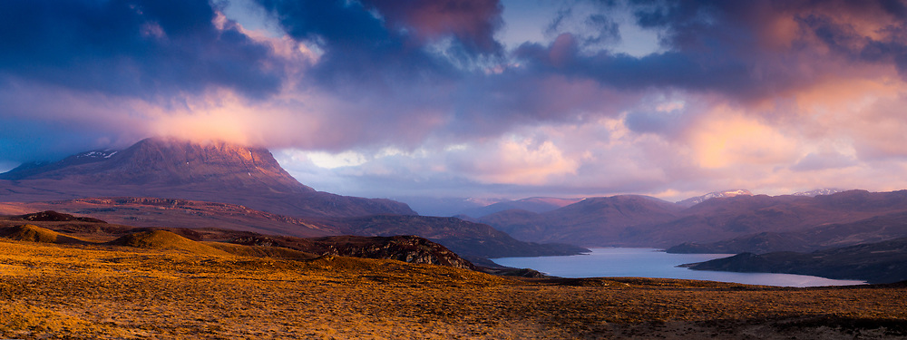 Last light over Ben Hope and Loch Hope
