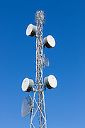 microwave link backhaul parabolic antennas on tower in rural Emerald, Queensland, Australia
