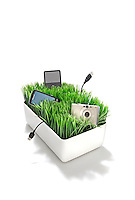 Grass charging station on white background