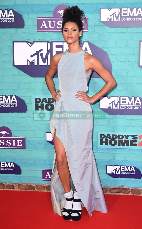 Vick Hope arriving at the MTV Europe Music Awards 2017 held at The SSE Arena, London. Photo credit should read: Doug Peters/EMPICS Entertainment