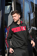 Scunthorpe United Cameron Burgess (21) arrives at the ground before the EFL Sky Bet League 1 match between Bristol Rovers and Scunthorpe United at the Memorial Stadium, Bristol, England on 24 February 2018. Picture by Gary Learmonth.