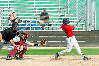 KELOWNA, BC - JULY 06:  Austen Butler #28 of the Kelowna Falcons hits the ball against the Walla Walla Sweets at Elks Stadium on July 6, 2019 in Kelowna, Canada. (Photo by Marissa Baecker/Shoot the Breeze)