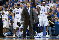 Kentucky head coach John Calipari calls for guard Isaiah Briscoe to enter the game for the injured guard Dominique Hawkins in the second half. Hawkins had turned his ankle but the X-Rays were negative. The University of Kentucky hosted Ole Miss, Saturday, Jan. 02, 2016 at Rupp Arena in Lexington.