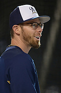 PHOENIX, AZ - JUNE 09:  Eric Sogard #18 of the Milwaukee Brewers during batting practice prior to the MLB game against the Arizona Diamondbacks at Chase Field on June 9, 2017 in Phoenix, Arizona. The Milwaukee Brewers won 8-6.  (Photo by Jennifer Stewart/Getty Images)
