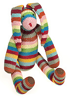 crocheted rainbow bunny